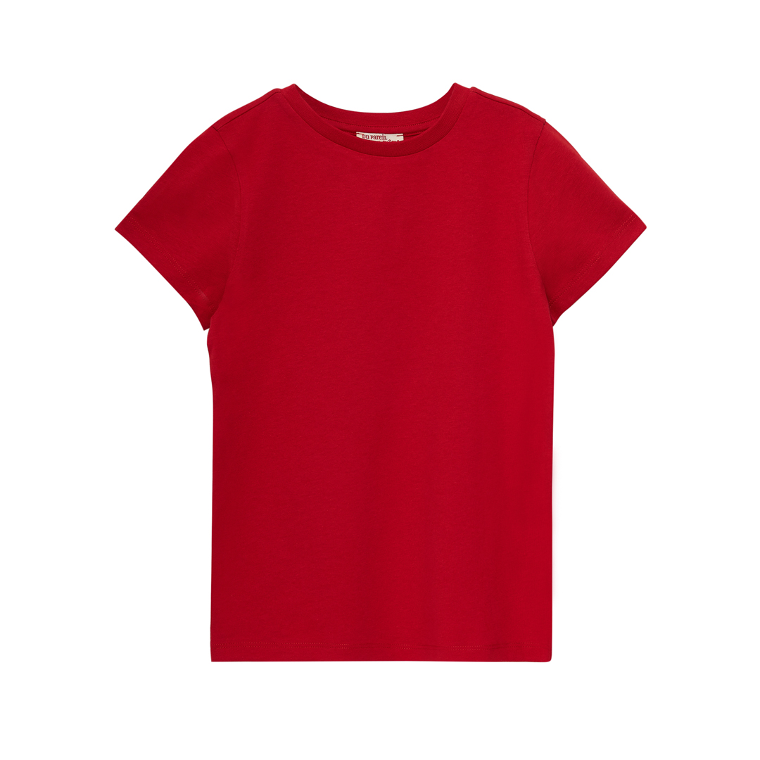 Joesti4 Boys Basic Red Short Sleeved Cotton T-shirt