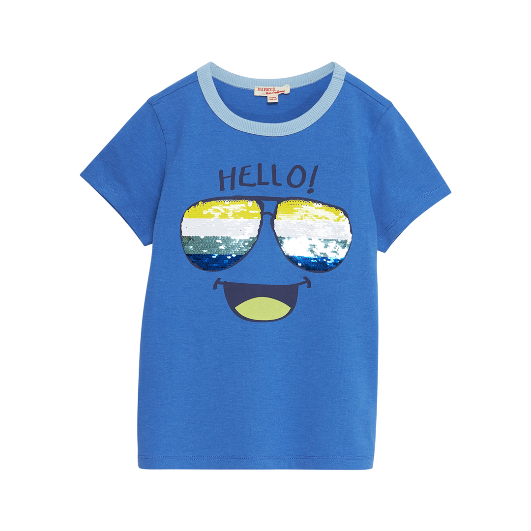 "Joquati1 Boys Blue ""Sunglasses"" Sequinned Cotton T-shirt"