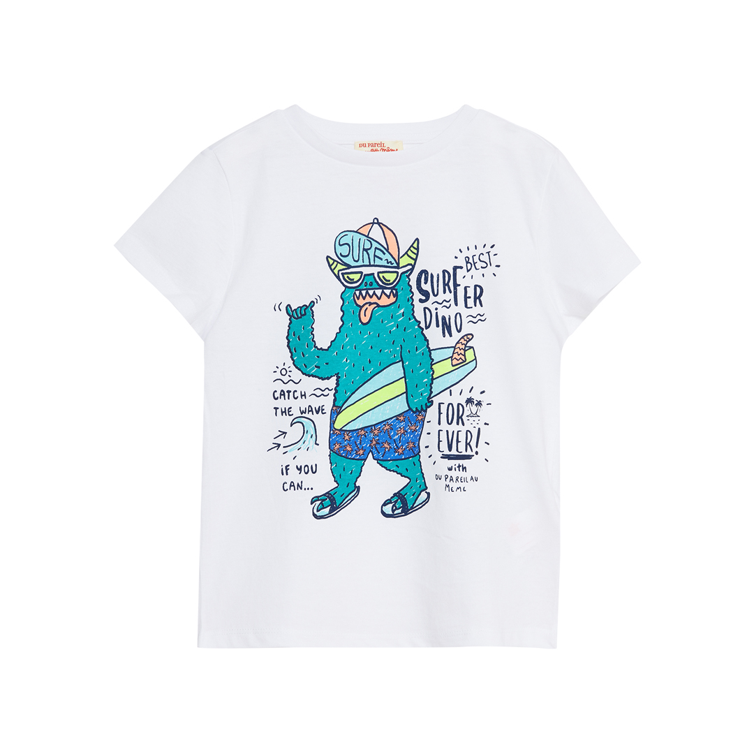 Joquati5 Boys White Printed Cotton T-shirt