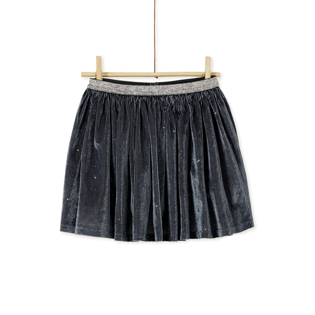 Kabojup1 Girls Grey Lurex Pleated Velour  Skirt With Velvet Waistband