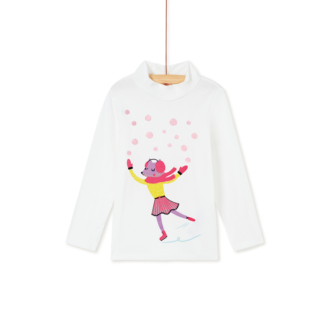 Kabosoup Girls Cream Printed Cotton Polo Neck