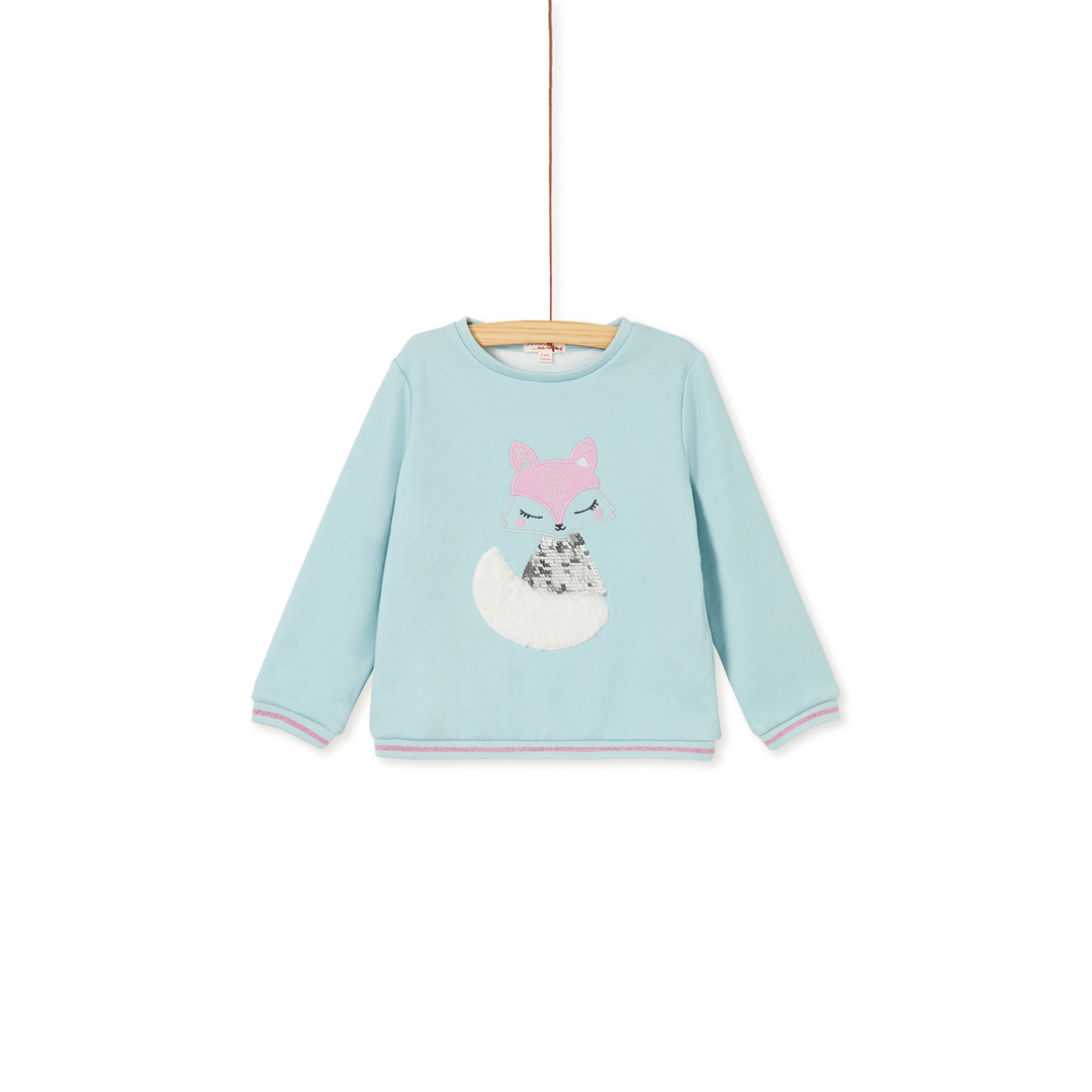 "Kaboswea Girls Ice Blue Sequinned ""Fox"" Fleece Sweatshirt"