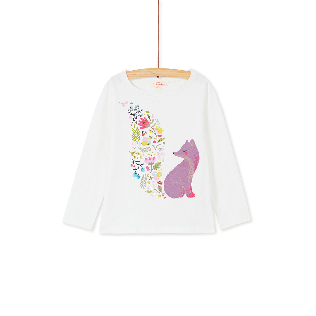 Kabotee1 Girls Cream Printed Cotton T-shirt