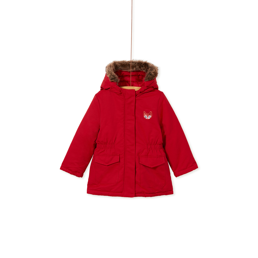 Kabriparka Girls Red Hooded Winter Coat