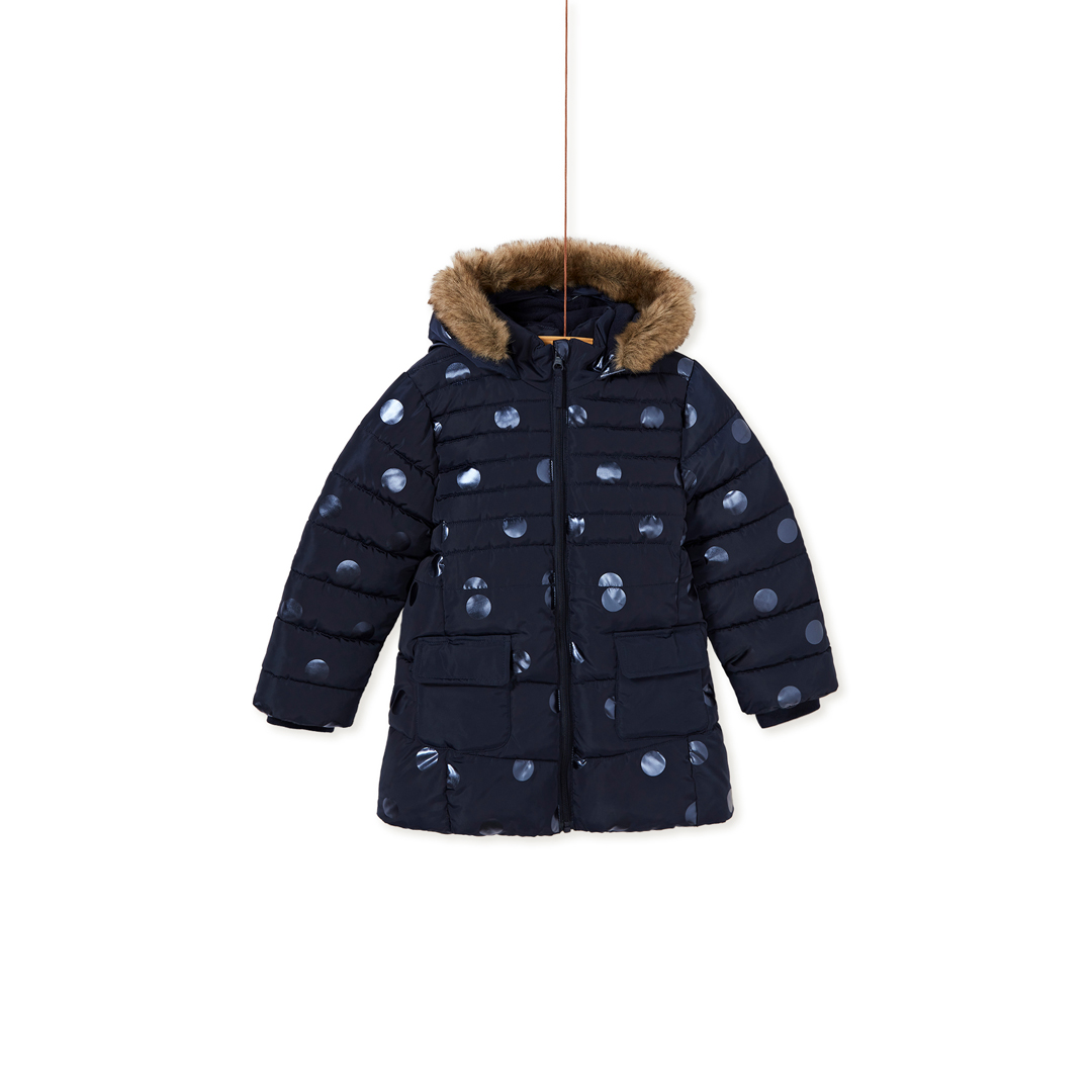 Kalondoun2 Girls Navy Spotted Fleece Lined Hooded Winter Coat (removeable fur lining on hood)