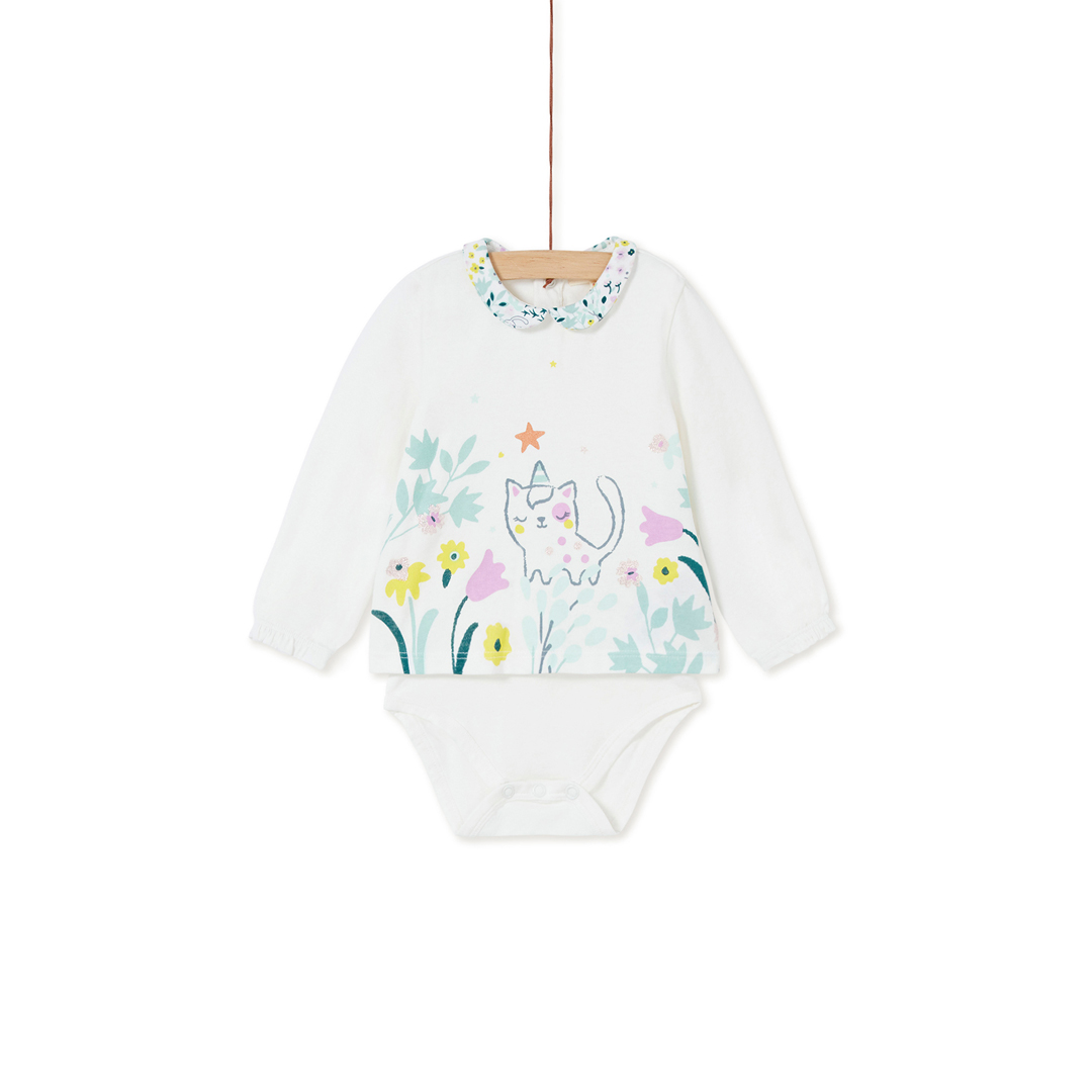 Kibobod2 Baby Cream Printed Girls Bodysuit With T-shirt