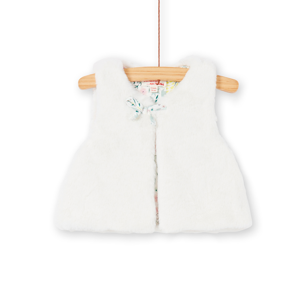 Kibocar2 Baby Girls Reversible Cream Faux Fur Gilet