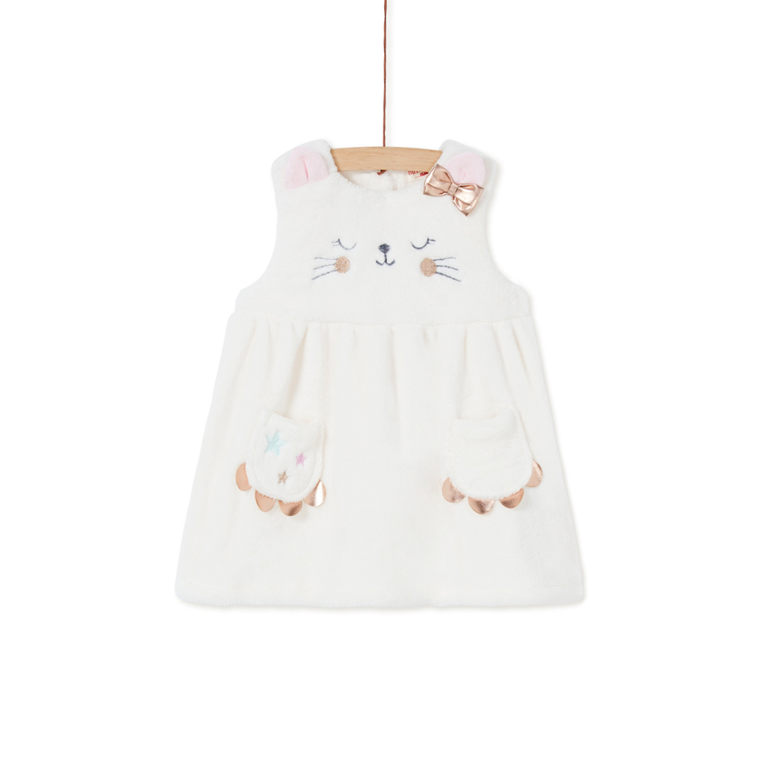 Kiborob2 Baby Girls Cream Soft Boa Dress