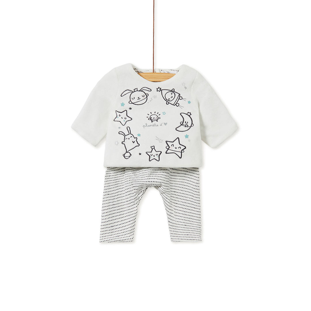 Kou1ens3 Baby Boys Top and Reversible Trousers Set