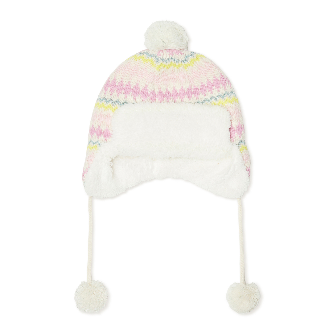 Kyibobon2 Baby Girls Lined Striped Bobble Hat