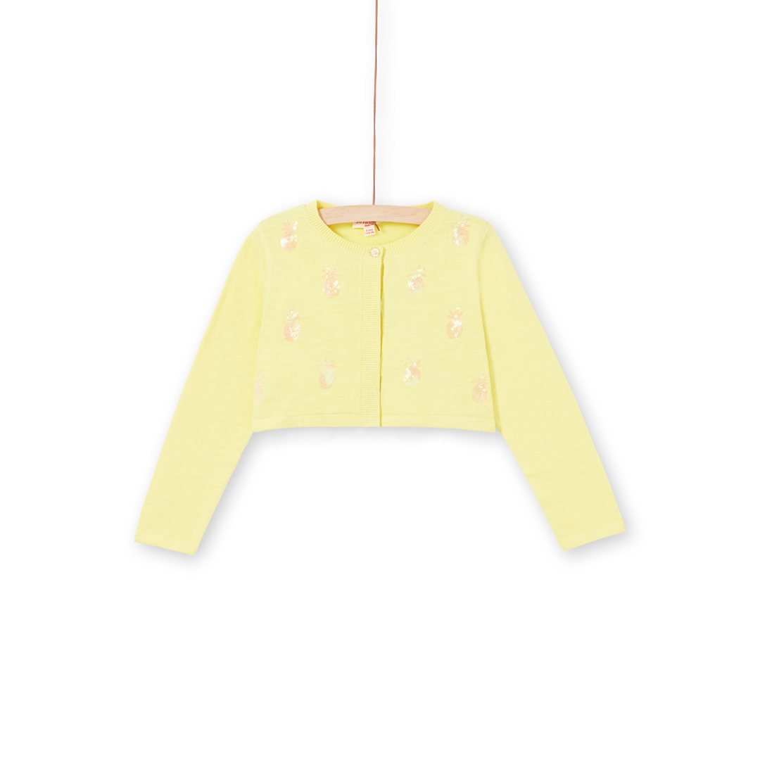 Lajaucar1 Girls Sequinned Yellow Cotton Mix Cardigan