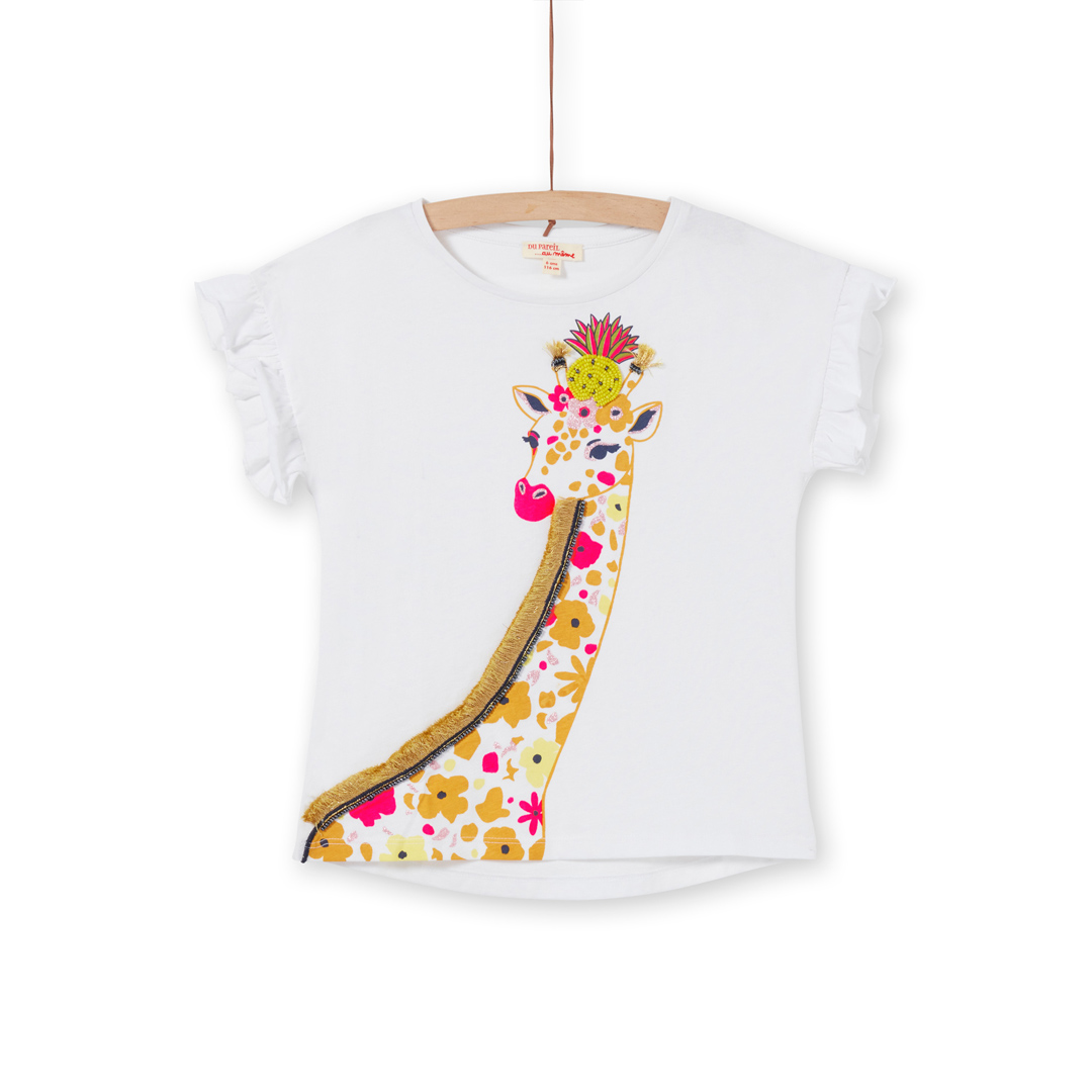 "Lajauti4 Girls White Cotton ""Giraffe"" T-shirt"