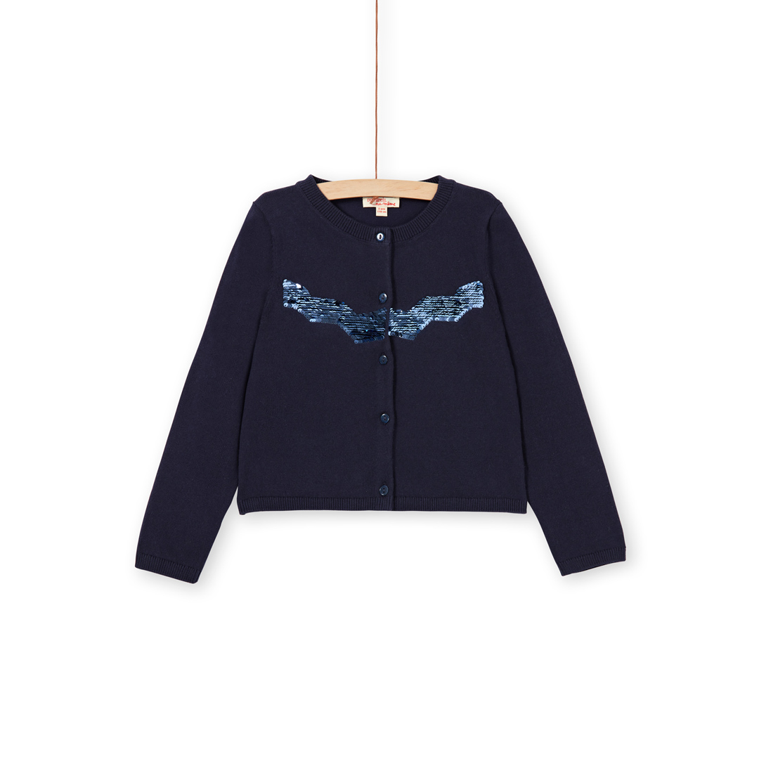 Lajocar1 Girls Navy Sequinned Jersey Cardigan