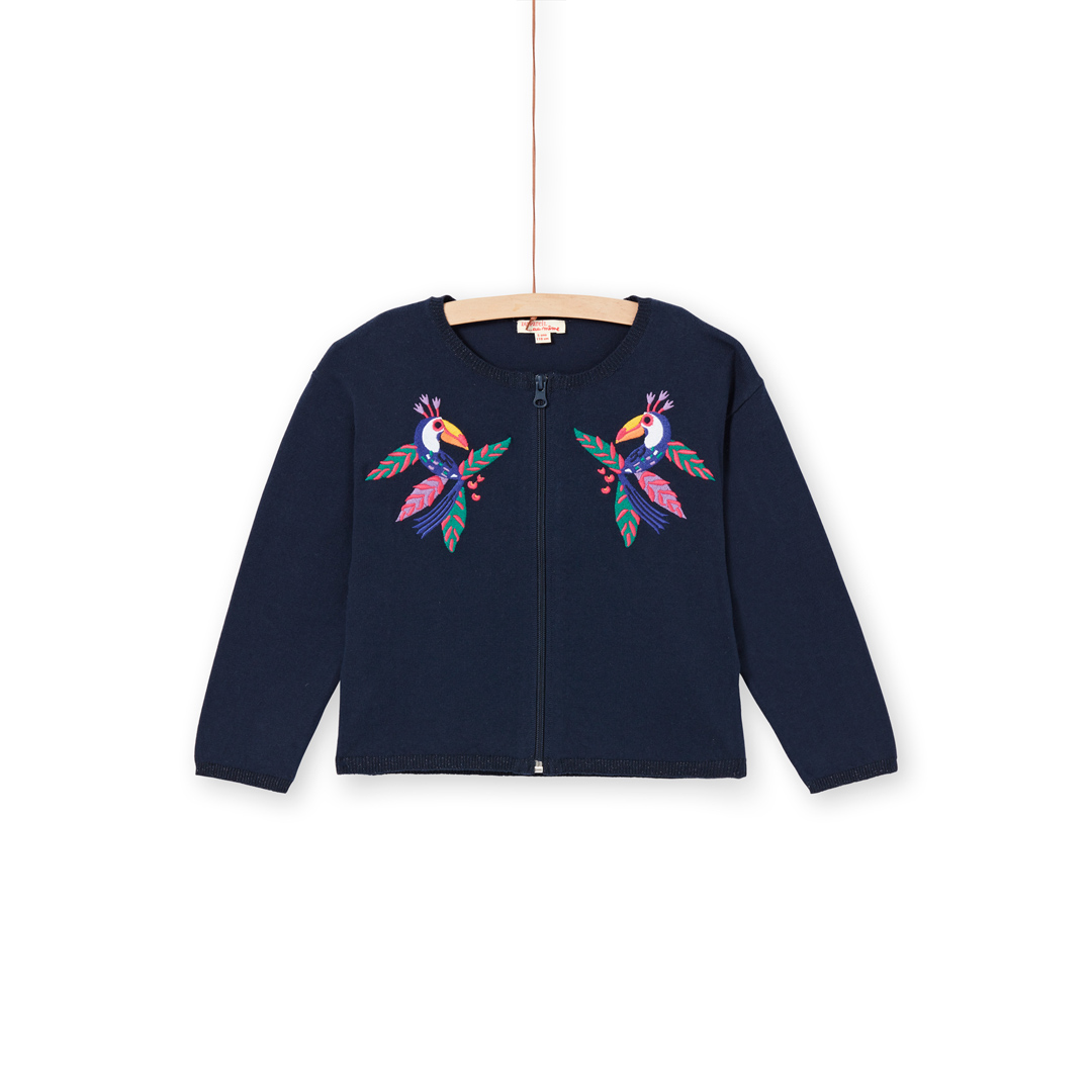 Lanaucar Girls Zipped Navy Appliqued Cotton Mix Cardigan