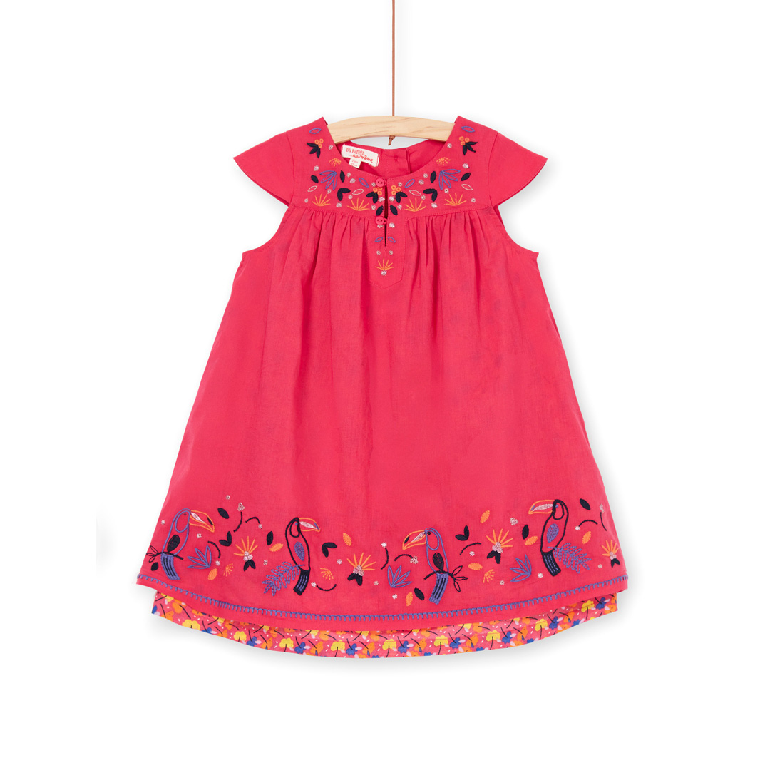 Lanaurob3 Girls Red Embroidered Lined Cotton Dress