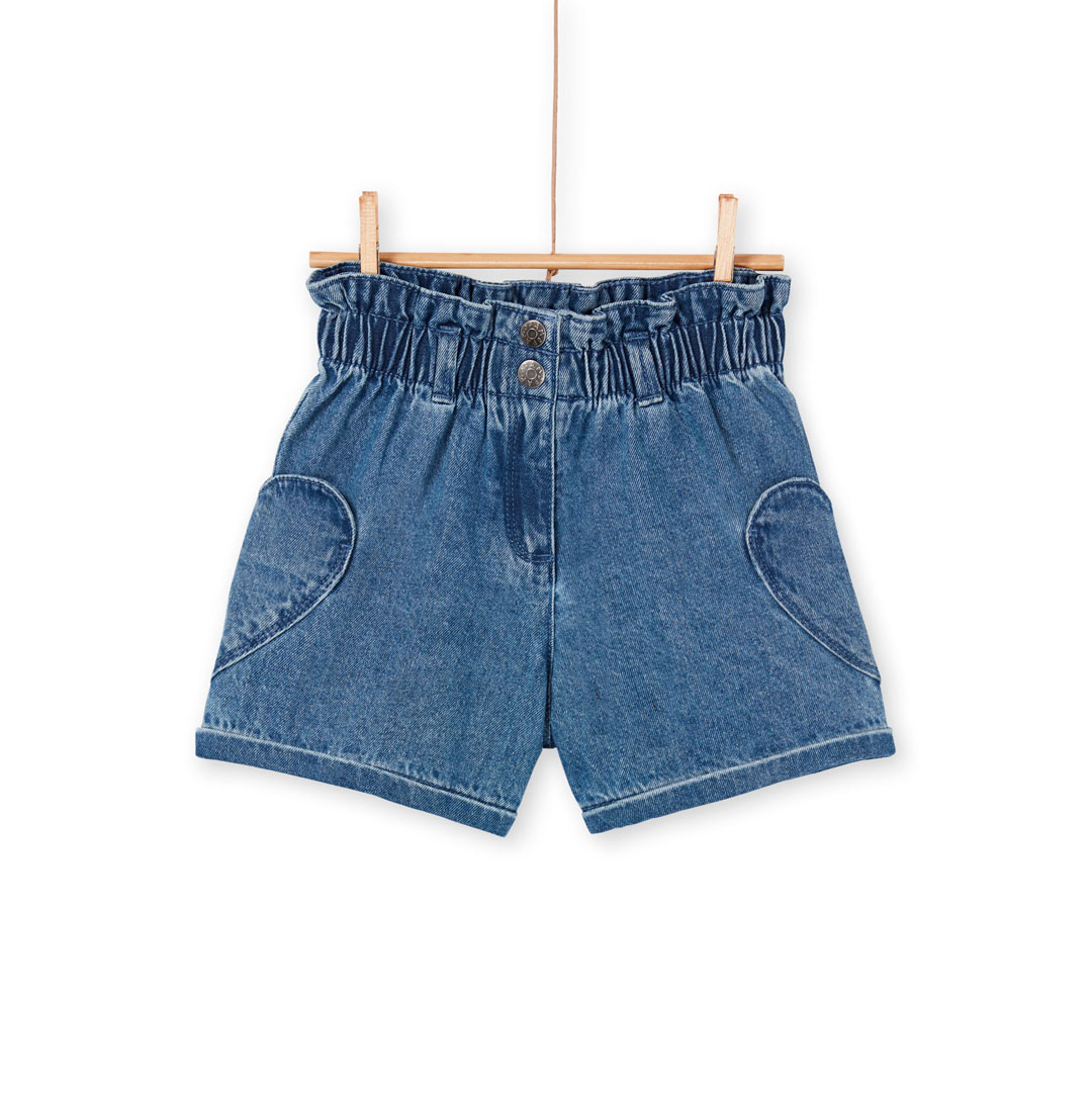 Lanaushort Girls Gathered Waist Denim Shorts