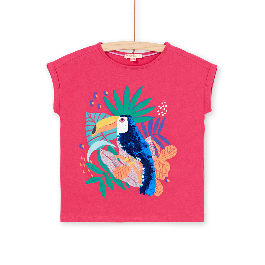 Lanauti1 Girls Pink Sequinned Cotton T-shirt