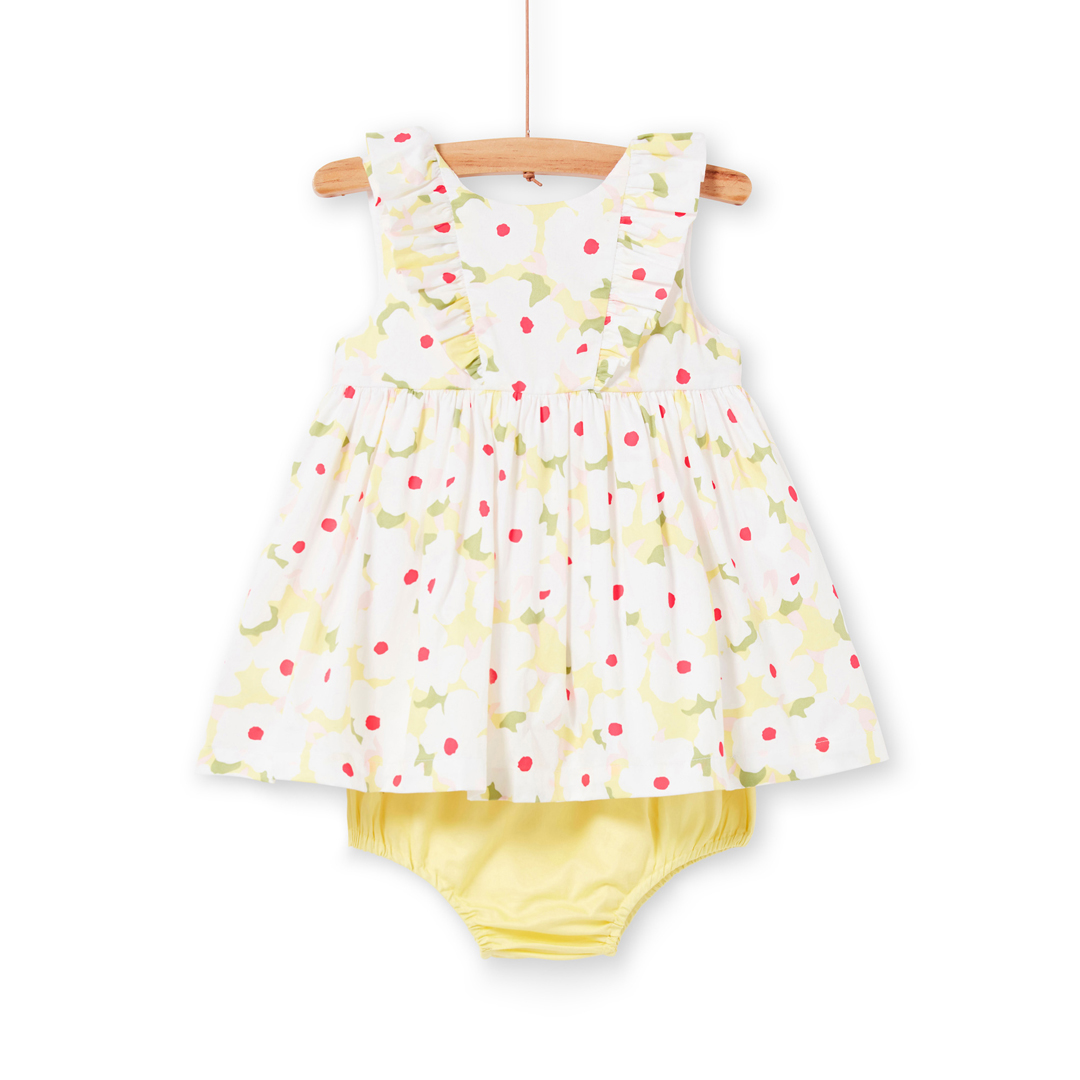 Libalrob1 Baby Girls Printed Cotton Satin Dress With Knickers
