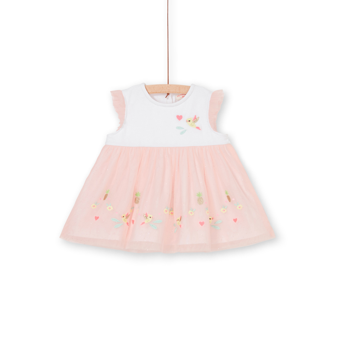 Libalrob4 Baby Girls Cotton Dress With Tulle Skirt