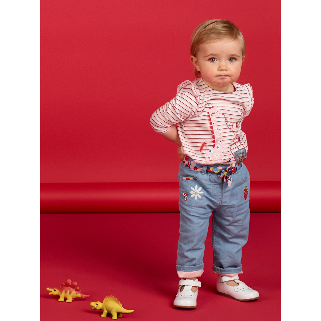 Licanpan Baby Girls Lined Denim Trousers With Belt
