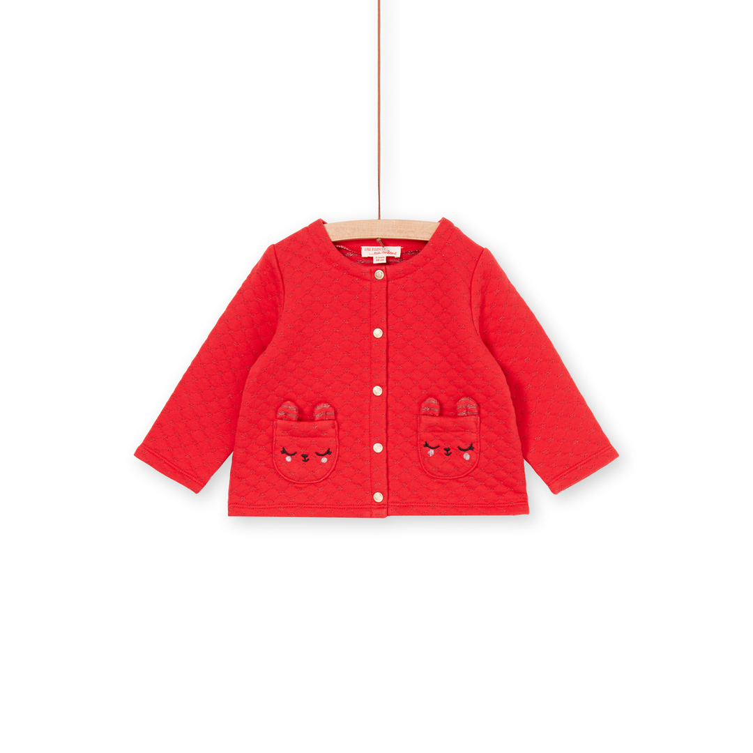Lihacar Baby Girls Tomato Red Quilted Jersey Cardigan