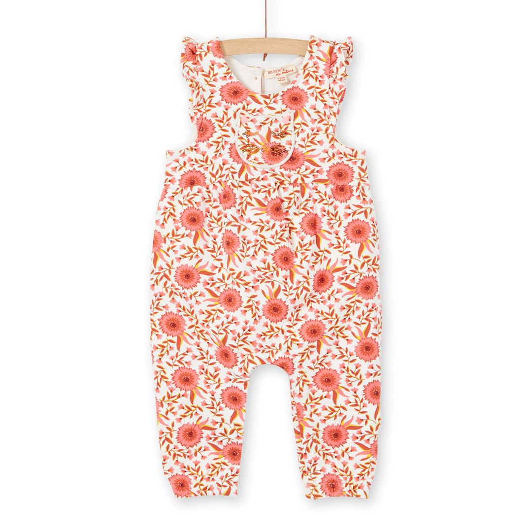 Linaucomb Baby Girls Printed Sequinned Cotton Dungarees