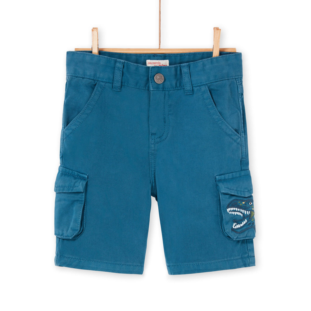 Loverber4 Boys Turquoise Cotton Cargo Shorts