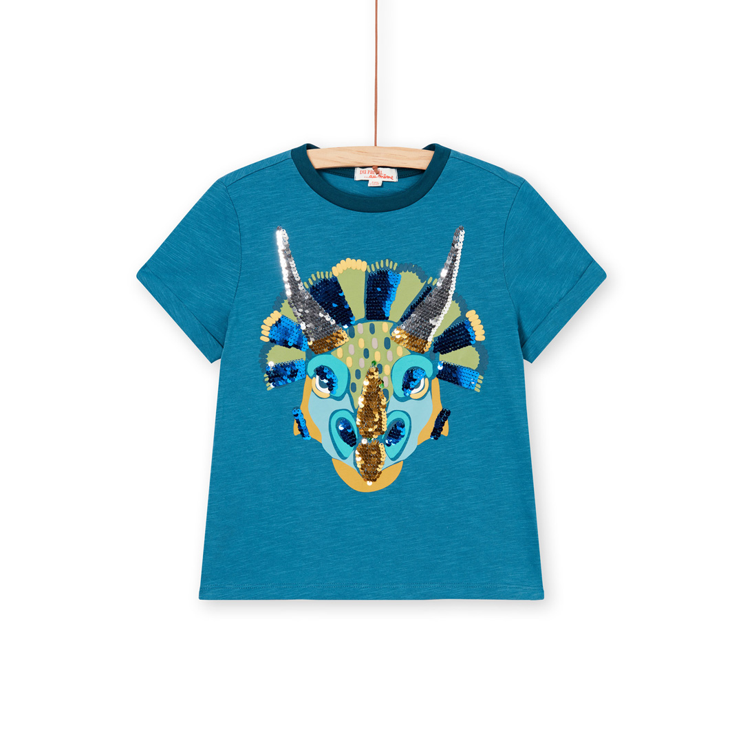 Loverti5 Boys Turquoise Sequinned Cotton T-shirt