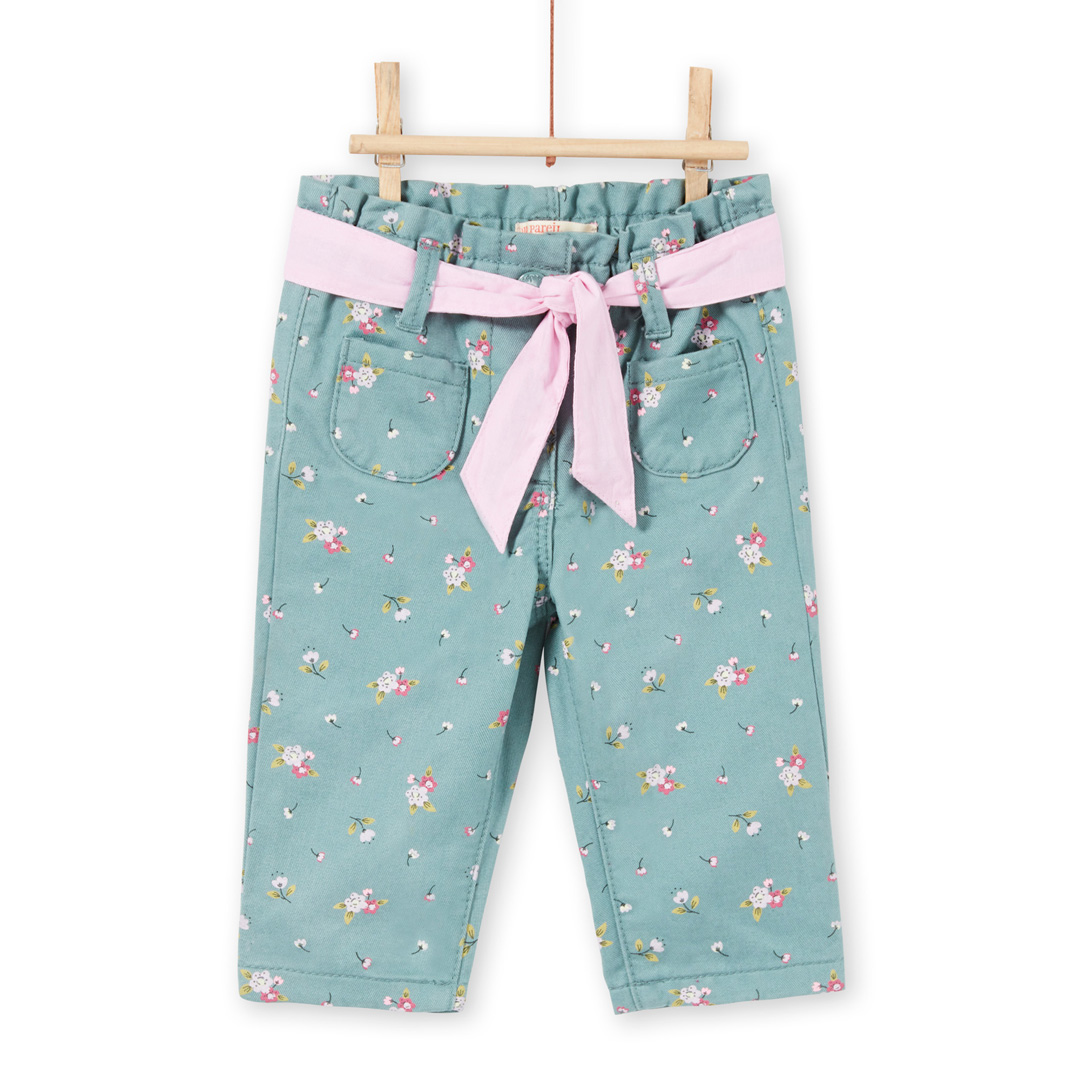 Mikapan Baby Girls Printed Green Belted Cotton Trousers