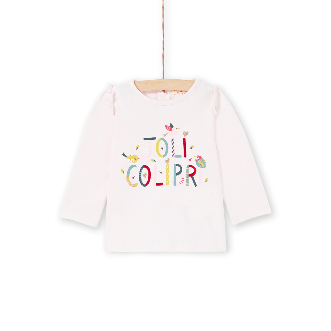 Mikatee Baby Girls Pale Pink Printed Cotton T-shirt
