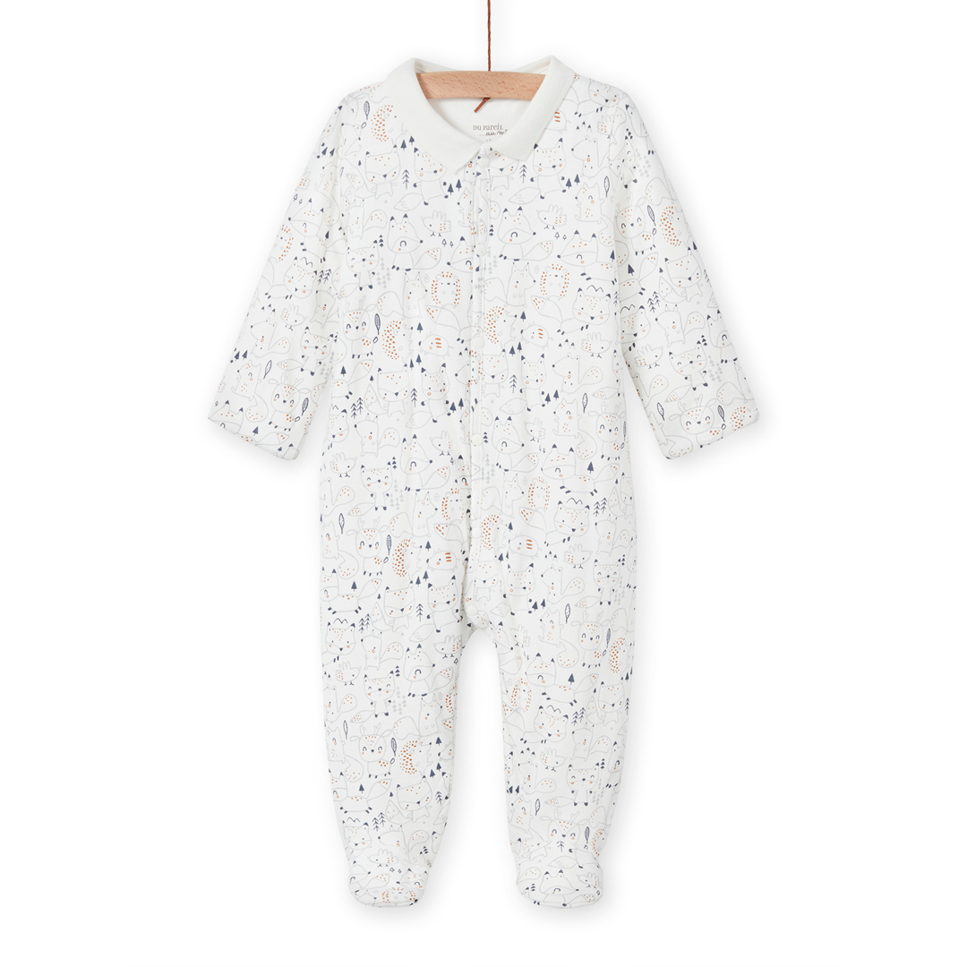 Mou1gre3 Newborn Baby Boys Collared Cotton Sleepsuit